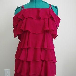 Loft Ruffle Holiday 👗 Dress Red. Never Used
